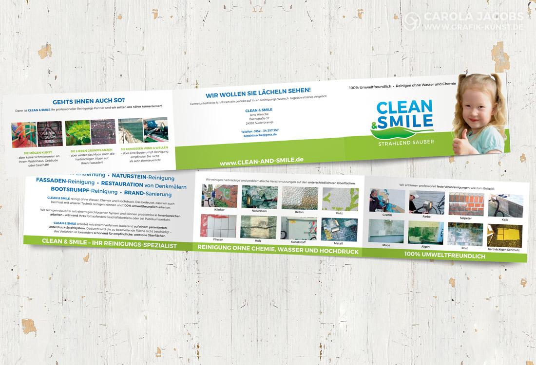Faltblatt für Clean & Smile