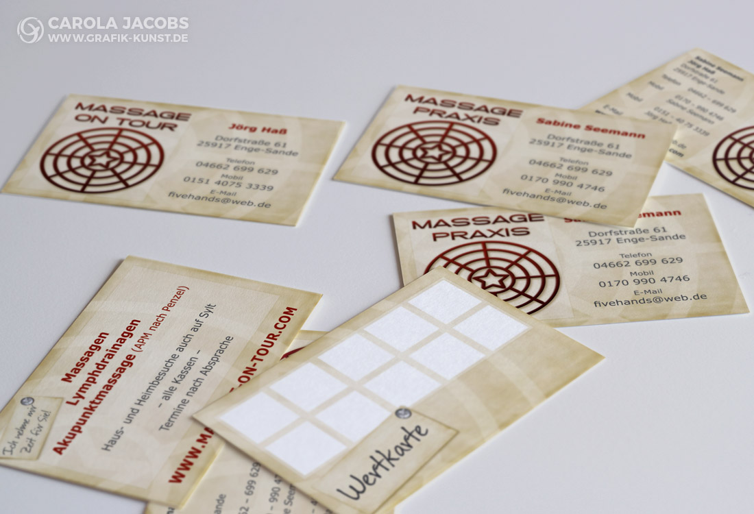 Rabattkarte und Visitenkarte für die Massage-Praxis