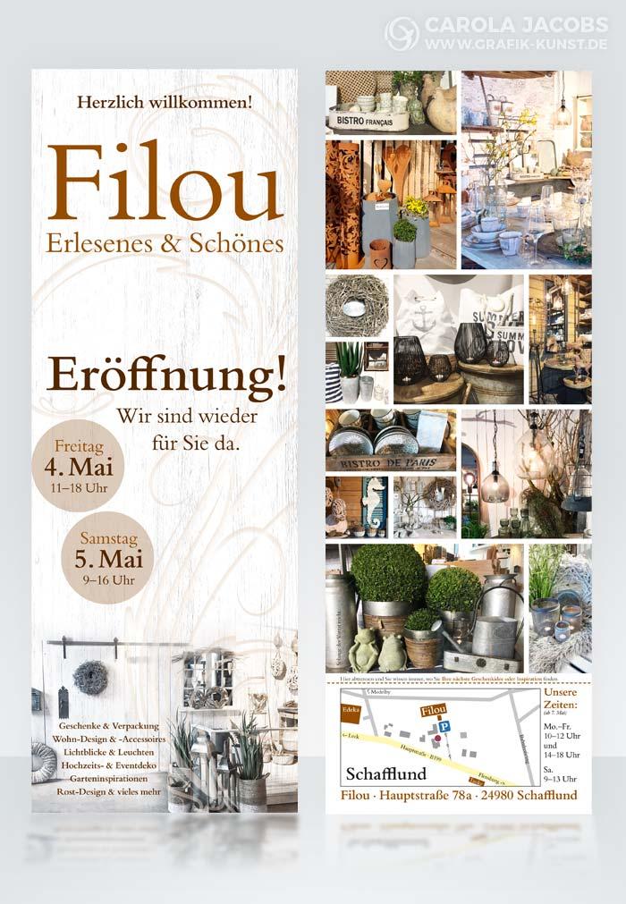 Flyer für die Wiedereröffnung vom Filou