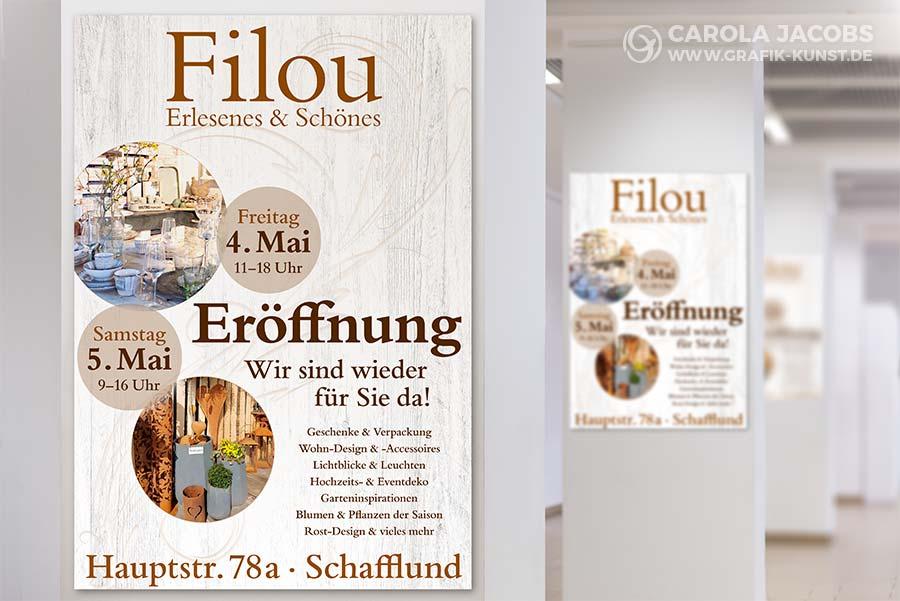 Plakat für die Wiedereröffnung vom Filou