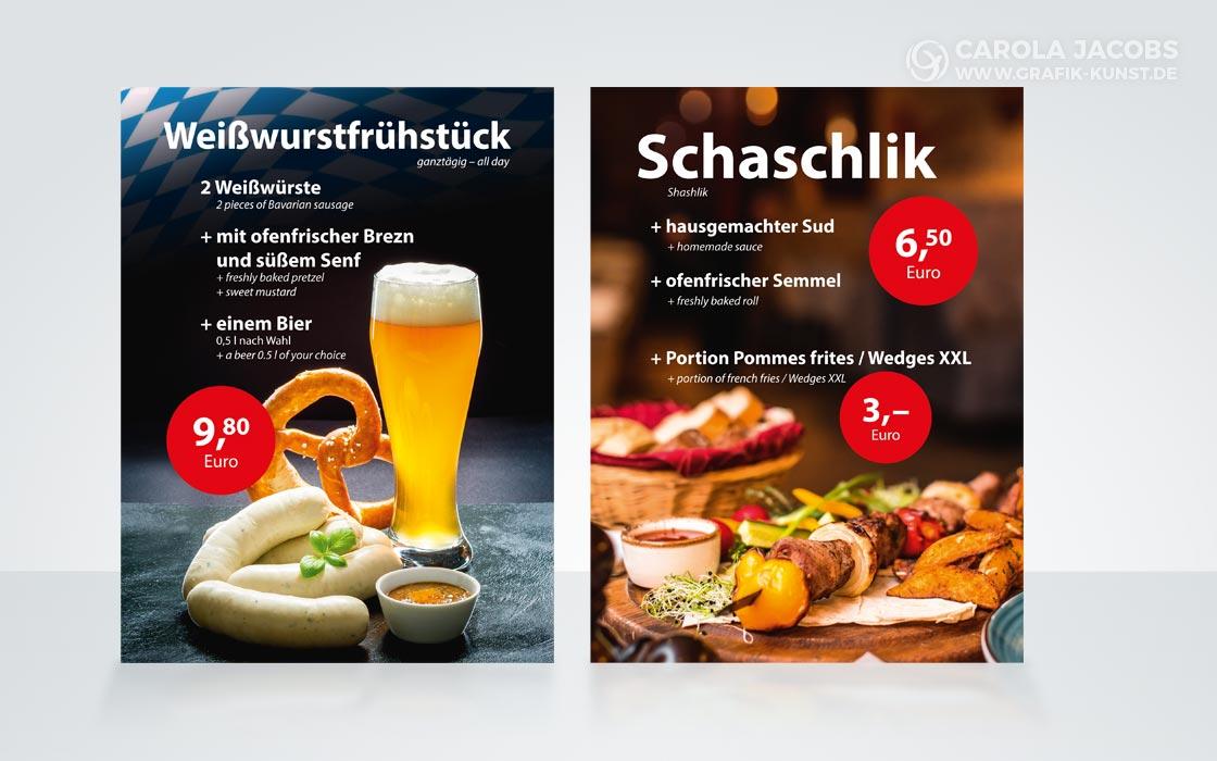 Tisch-Aufsteller für die Sportsbar Schiller in München